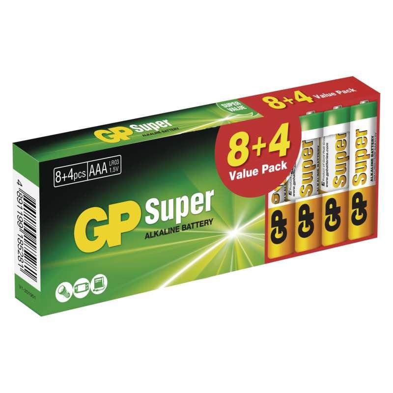 Baterie LR3 1,5V GP Super Alkalické AAA (mikrotužkové) 12ks baterií