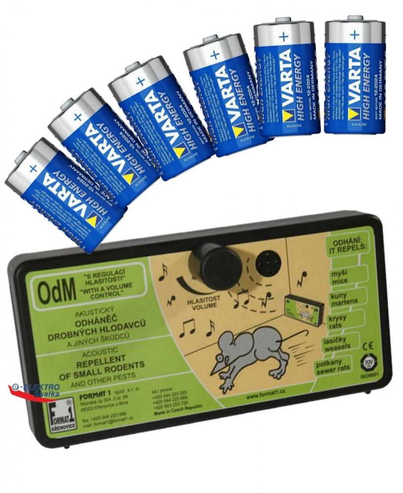Odpuzovač hlodavců OdM Format1 s Regulací zvuku s bateriemi