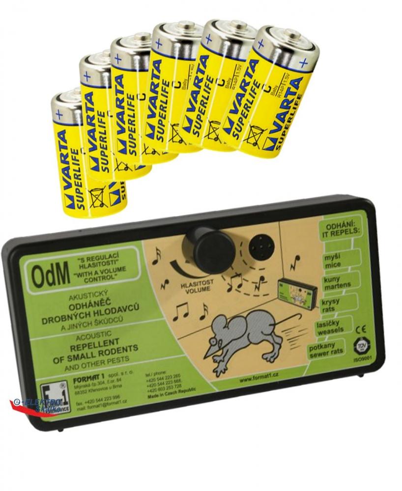 Plašič hlodavců, myší OdM Format1 s Regulací zvuku a sada baterií