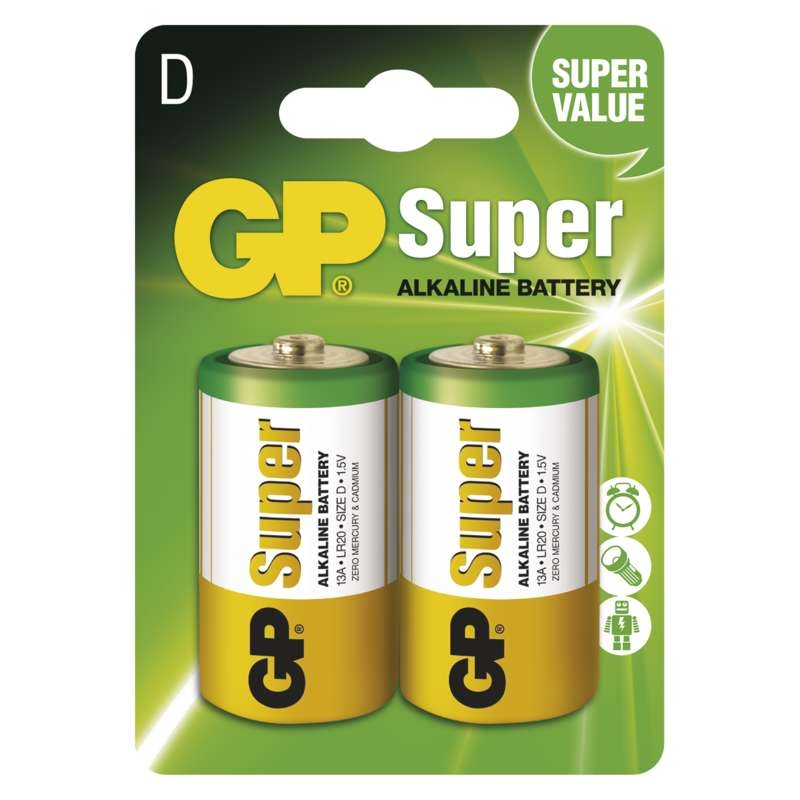 Baterie R20 1,5V GP Super Alkalická D (velký monočlánek) 1ks
