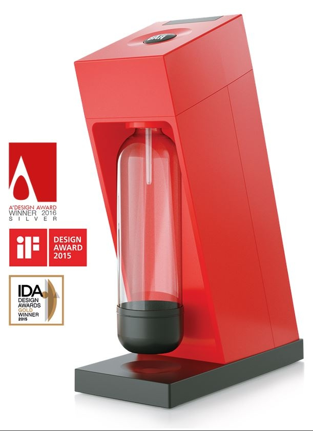 Výrobník sody LIMO BAR Edge Red, CO2 bombička a 1litr láhev