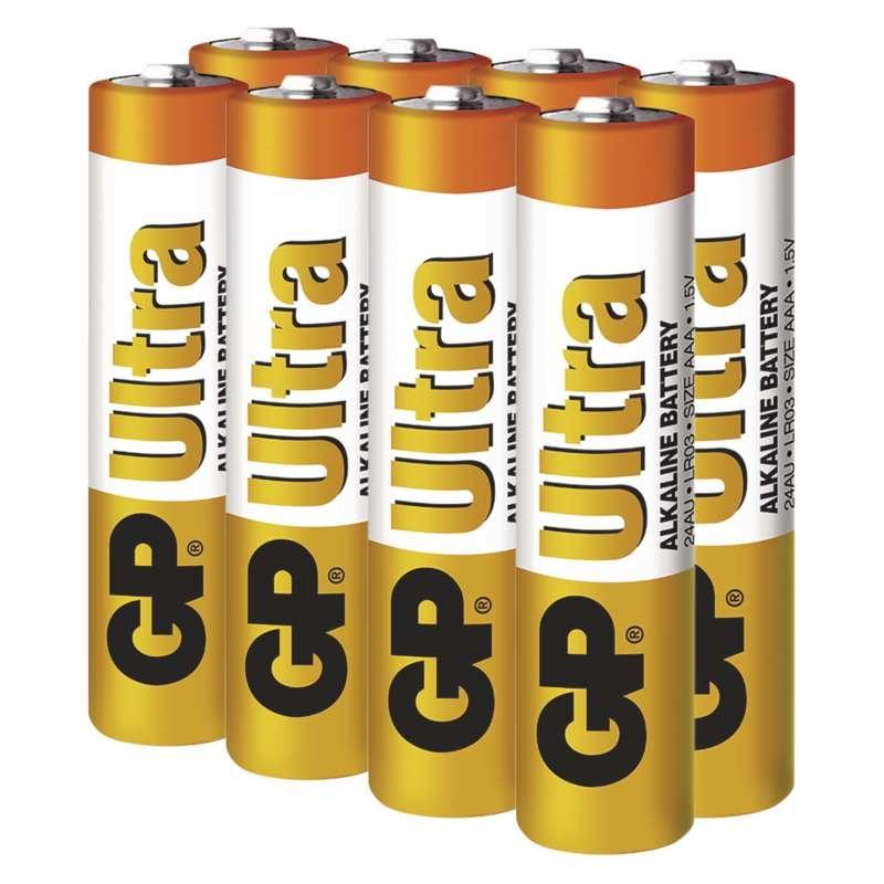 Baterie LR3 1,5V GP Alkalická Ultra AAA, 8ks mikrotužkových baterií