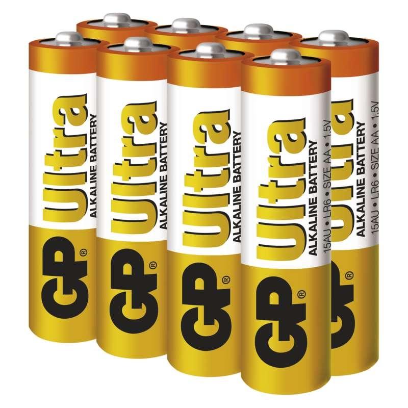 Baterie LR6 1,5V GP Alkalická Ultra AA, 8ks tužkových baterií