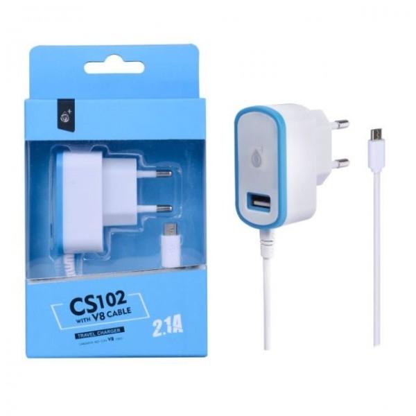 Nabíječka síťová PLUS CS102 5V/2,1A 1xUSB a MicroUSB modrá