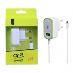 Nabíječka síťová PLUS CS102 5V/2,1A 1xUSB a MicroUSB zelená