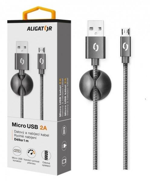 Datový kabel ALIGATOR Premium 2A MicroUSB, 1M černý