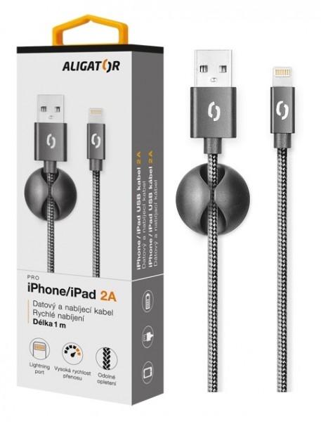 Datový kabel ALIGATOR Premium 2A pro iPhone, 1M černý