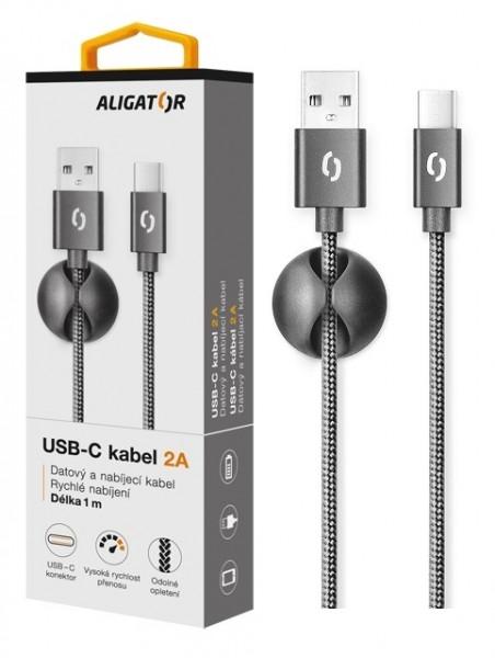 Datový kabel ALIGATOR Premium 2A USB-C, 1M černý