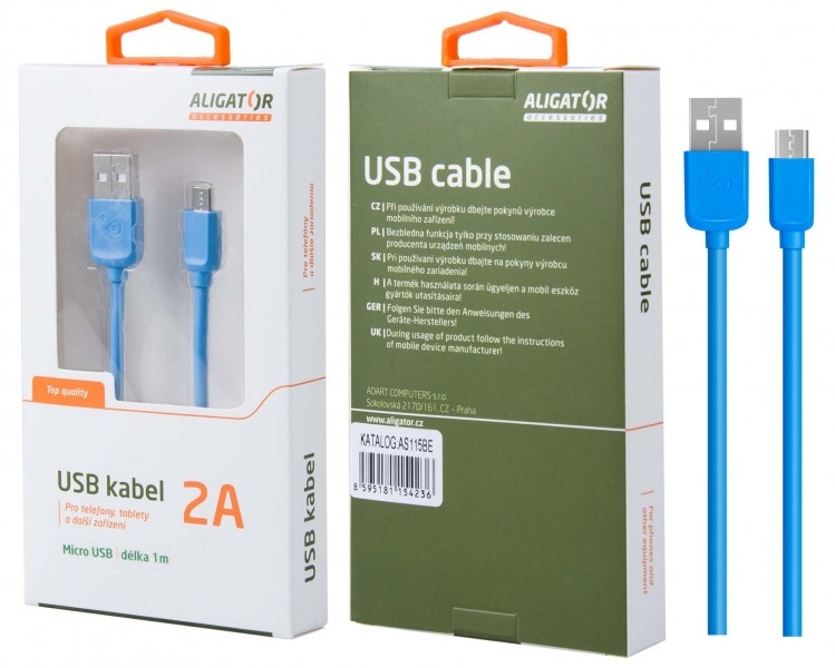 Nabíjecí kabel ALIGATOR AS115 MicroUSB 2A, 1m modrý
