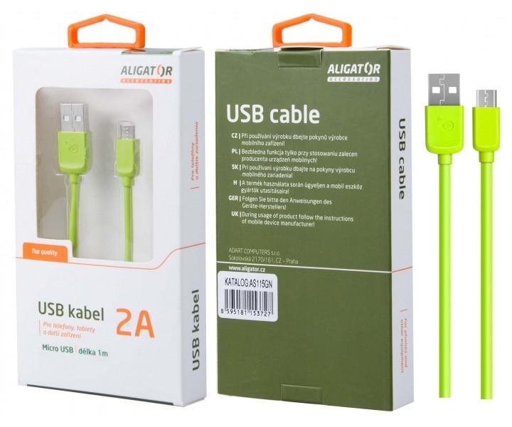 Nabíjecí kabel ALIGATOR AS115 MicroUSB 2A, 1m zelený