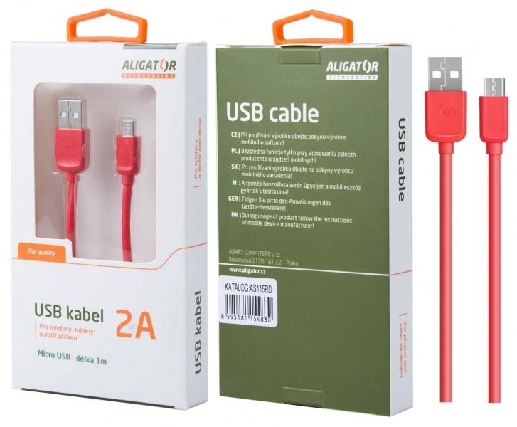 Nabíjecí kabel ALIGATOR AS115 MicroUSB 2A, 1m červený