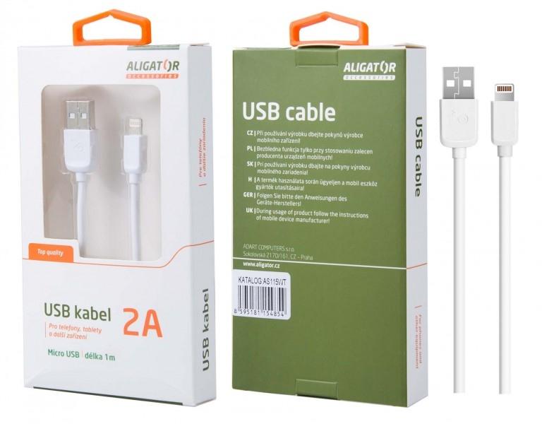 Nabíjecí kabel ALIGATOR AS115 MicroUSB 2A, 1m bílý