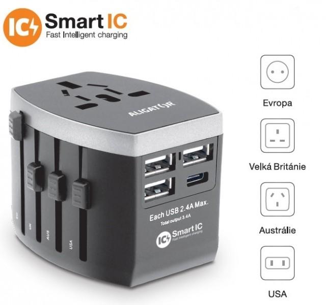 Cestovní adaptér ALIGATOR s USB, Smart IC USB-C 3.4A nabíječkou