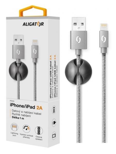 Datový kabel ALIGATOR Premium 2A pro iPhone, 1M šedý