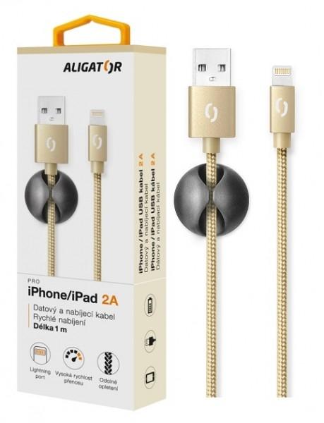 Datový kabel ALIGATOR Premium 2A pro iPhone, 1M zlatý