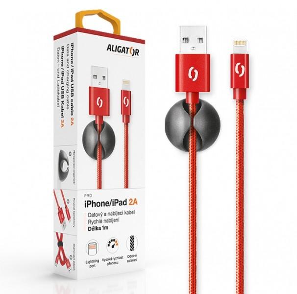 Datový kabel ALIGATOR Premium 2A pro iPhone, 1M červený