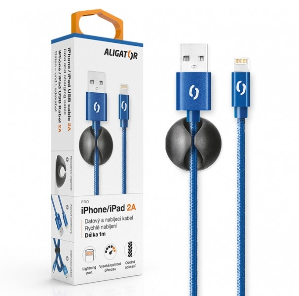 Datový kabel ALIGATOR Premium 2A pro iPhone, 1M modrý