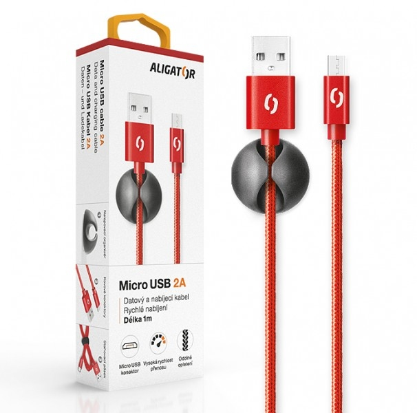 Datový kabel ALIGATOR Premium 2A MicroUSB, 1M červený