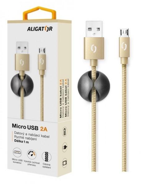 Datový kabel ALIGATOR Premium 2A MicroUSB, 1M zlatý