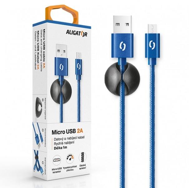 Datový kabel ALIGATOR Premium 2A MicroUSB, 1M modrý