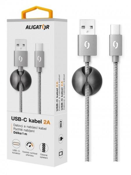 Datový kabel ALIGATOR Premium 2A USB-C, 1M šedý