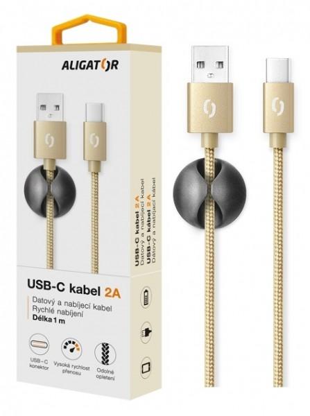 Datový kabel ALIGATOR Premium 2A USB-C, 1M zlatý