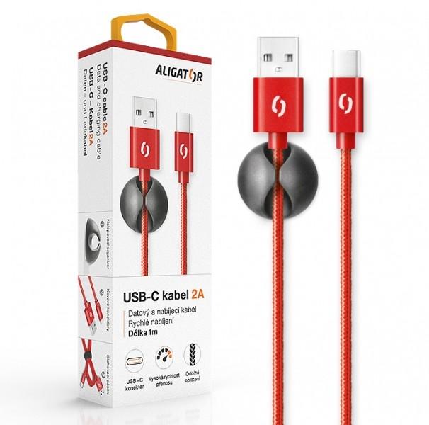 Datový kabel ALIGATOR Premium 2A USB-C, 1M červený