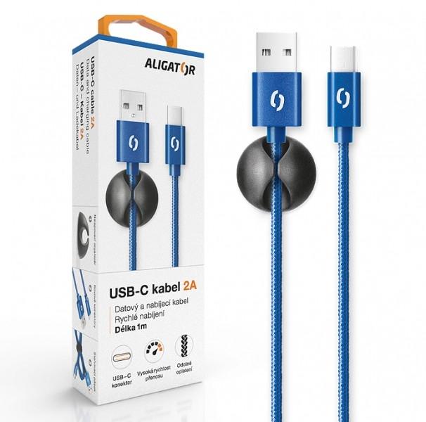 Datový kabel ALIGATOR Premium 2A USB-C, 1M modrý