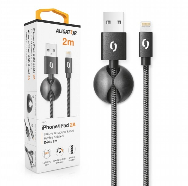 Nabíjecí kabel ALIGATOR Premium 2A pro iPhone 2m černý