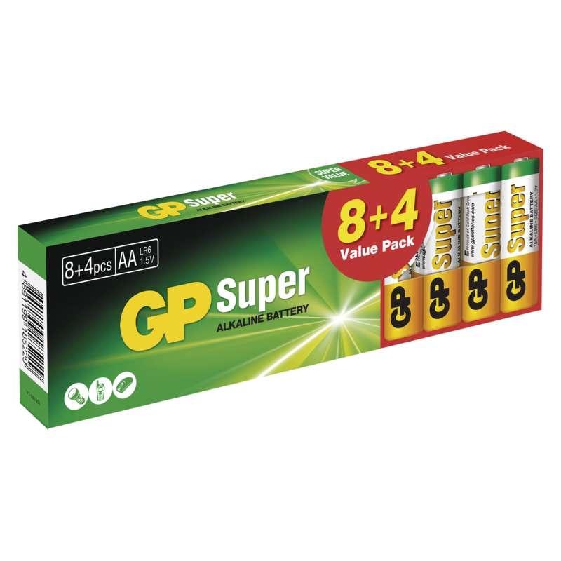 Baterie LR6 1,5V GP Super Alkalické AA (tužkové) 12ks baterií